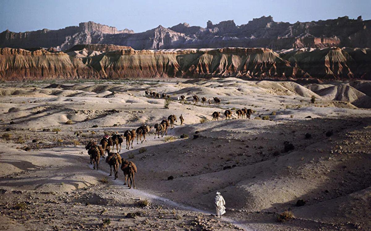 Güney Afganistan'da bir deve kervanı. 1981.