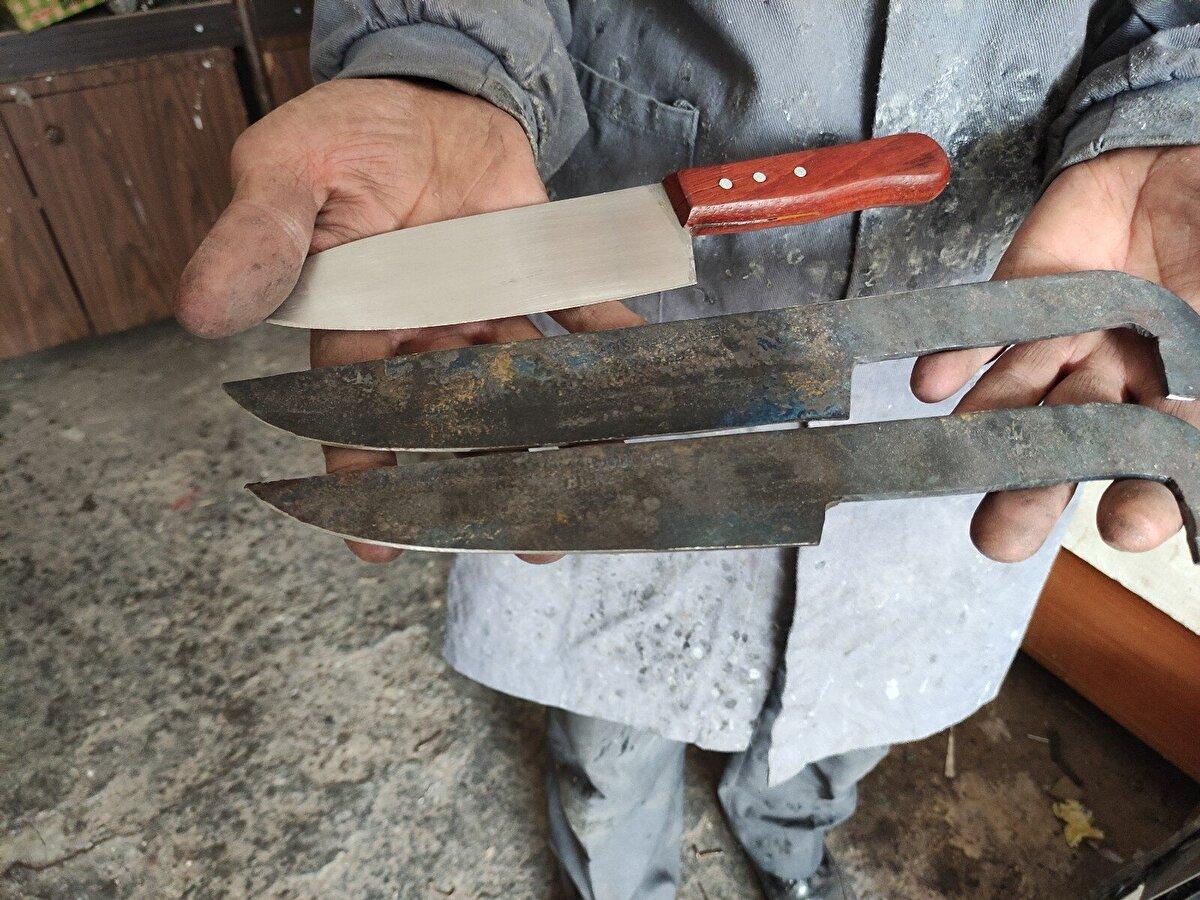 Binlerce yıllık teknikle yapılıyor. Bu şekilde yapılan kılıç ve bıçaklar daha kaliteli ve uzun ömürlü oluyor. Diğer paslanmaz bıçaklara nazaran daha keskin oluyorlar. Döverek yapılan bir kılıç 3 gün sürüyor. Dövme kılıçların tanesini 3 bin liradan satıyoruz.