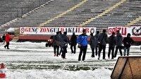 3. Lig maçına kar engeli