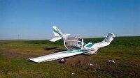 Kırklareli'nde düşen eğitim uçağının görüntüleri