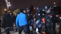 Taraftarlar, çevik kuvvet polislerine çiçek verip sarıldı
