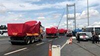 Kamyonlar Şehitler Köprüsü'nden geçti