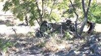 Uçuruma yuvarlanan araçtan hafif yaralarla kurtuldu