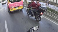 Dolmabahçe'de ilginç motosiklet kazası kamerada
