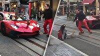 Lamborghini'nin üzerine basan çocuğu bayıltana kadar dövdü!