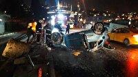 Unkapanı Köprüsünde kaza yapan araç yandı