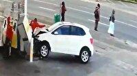 Benzin istasyonunda korkunç kaza!