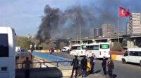 İstanbul'da otogar girişinde otobüste yangın
