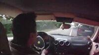 Ferrari ile kazadan kıl payı kurtulan adam