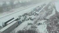 Son zamanların en büyük zincirleme trafik kazası kamerada