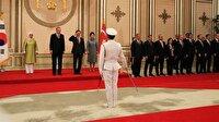 Güney Kore lideri İstiklal Marşı okunurken asker selamı verdi