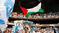 UEFA finalinden işgalci İsrail'e 'Filistin' bayraklı mesaj