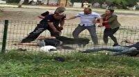 Torbacı, pitbull cinsi köpeğini polislere saldırttı!