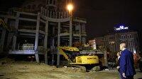 Gece yarısı Taksim Camii İnşaatını ve AKM'yi inceledi