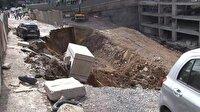 Ümraniye'de istinat duvarı çöktü