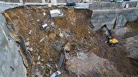 İstinat duvarı çöktü: Araçlar çukura düştü