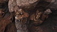 2 bin 100 yıllık üç heykel bulundu