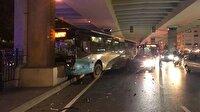 Halk otobüsü köprü ayağına çarptı: Yaralılar var