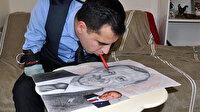 Kolları olmadan ağzıyla Erdoğan'ın portresini çizdi