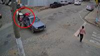 Böyle kaza görülmedi: Çarptığı kamyonetin kasasına düştü