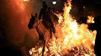 300 yıllık gelenek için atları ateş üstünde yürütüyorlar