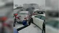 Buzlanmayı fark edemeyen 50'ye yakın araç birbirine girdi