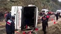 Bursa'da cenazeye giden otobüs devrildi: 35 yaralı