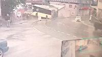 Hızını alamayan İETT otobüsünün kazası kamerada