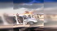 PKK'lı teröristler buğday tarlasını yakıp etrafında halay çektiler
