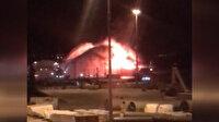 İzmir'deki gemide çıkan yangının görüntüleri