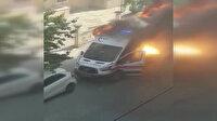 Ambulans alev aldı sağlık personeli hastayı alevler içinden kurtardı