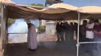 İşgalci İsrail askerlerinden namaz kılan cemaate göz yaşartıcı bombalı müdahale kameralarda