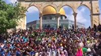 Yüzlerce Filistinli çocuk Harem-i Şerif'te marş söyledi