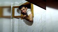 Kaçak zanlı lavabo havalandırmasına sıkışınca yakalandı