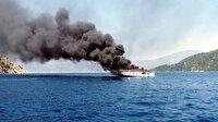Lüks yatta çıkan yangında 3 kişi denize atlayarak kurtuldu
