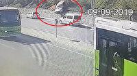 Kontrolden çıkan araç 20 metre yükseklikten yola uçtu