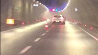 Avrasya Tüneli'nde dubalara makas atan sürücü kamerada