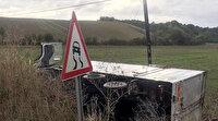Tekirdağ'da tabela önünde trafik kazası