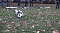 Robotların futbol oyunu eğlenceli anlara sahne oldu