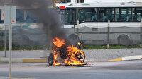 Ehliyetsiz sürücü yazılan ceza sonrası motosikletini yaktı