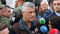 Kosova Cumhurbaşkanı Arnavutluk'ta açıklama yaparken depreme yakalandı