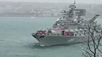 Rus savaş gemisi Boğaz'da sürüklendi