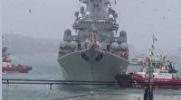 Rus savaş gemisi Kabataş'a yanaşırken sürüklendi