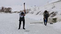Hakkari'de Eskimo usulü balık avı