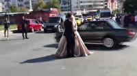 Düğün konvoylarında hayrete düşüren görüntüler: Gelin ve damadın etrafında drift!