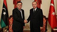 Cumhurbaşkanı Erdoğan, Libya UMH Başkanlık Konseyi Başkanı Serrac'ı kabul etti