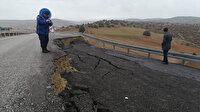 Afyonkarahisar'da yağış nedeniyle yol çöktü