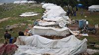 İdlibli evsizlerin çadırları fırtınada yıkıldı