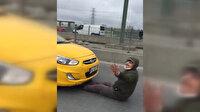 Evden kaçan gelinini takside gören vatandaş aracın önüne yattı