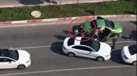 Şehir eşkıyası trafikte tartıştığı 3 kadını sopayla dövdü